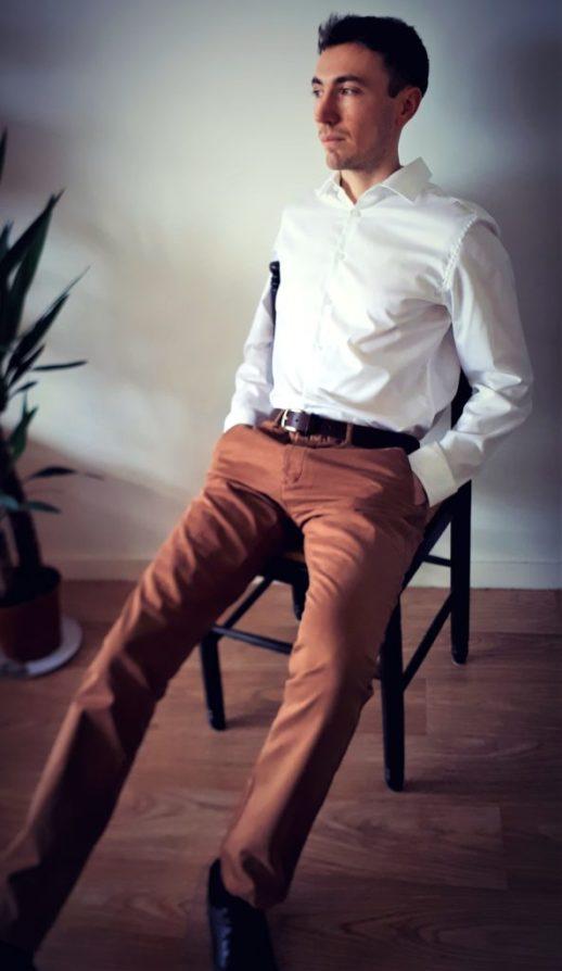Ceinture cuir brut homme marron foncé