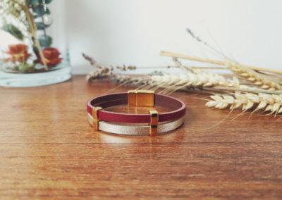 Bracelet femme cuir framboise doré