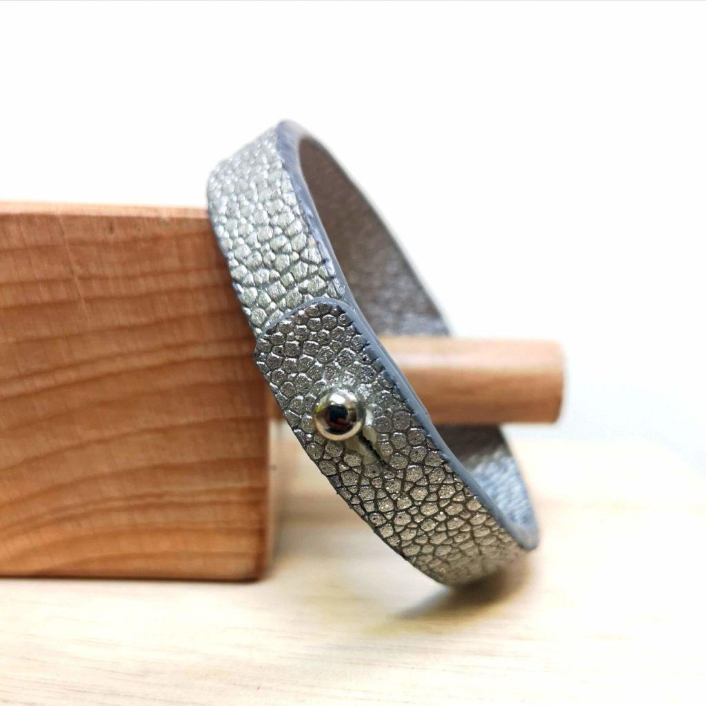 Bracelet femme cuir galuchat argent sur mesure