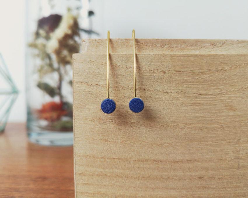 Boucles d'oreilles femme cuir bleu