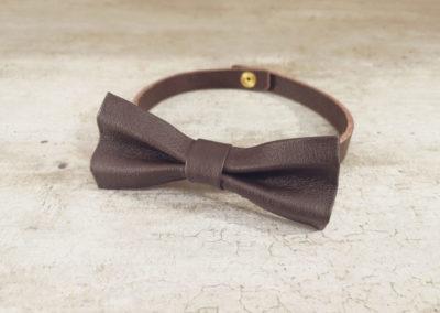 Noeud papillon homme cuir - Chocolat