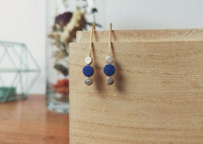 Ozalée N°2 - Boucles d'oreilles femme en cuir - Bleu