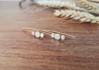 Ozalée N°2 - Boucles d'oreilles femme en cuir - Doré