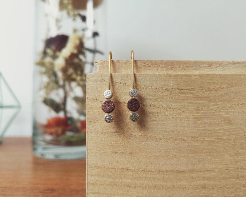 Ozalée N°2 - Boucles d'oreilles femme en cuir - Marron satiné