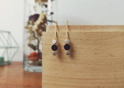 Ozalée N°2 - Boucles d'oreilles femme en cuir - Noir