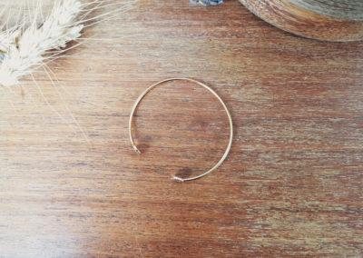 Ozalée - Bracelet jonc femme cuir doré